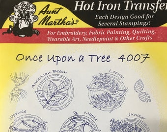 Once Upon A Tree Aunt Marthas Hot Iron Transfers for Embroidery Fabric Painting Quilting Wearable Art Needlepoint Crafts 4007