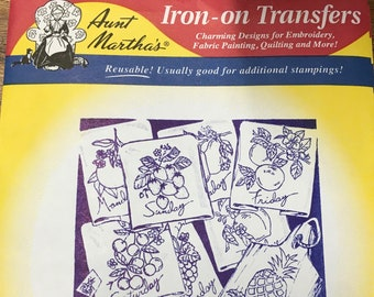 Fanciful Fruit - Aunt Marthas Hot Iron Transfers for Embroidery Fabric Painting Quilting Needlepoint Crafts 3749 Made in the USA