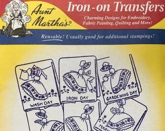 Colonial Girls - Aunt Marthas Hot Iron Transfers Embroidery Fabric Painting Quilting Needlepoint Crafts 3553 Made in the USA