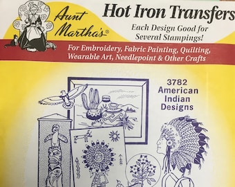 American Indian Designs Aunt Marthas Hot Iron Transfers for Embroidery Fabric Painting Quilting Needlepoint Crafts 3782
