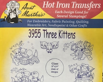 Three Kittens - Aunt Marthas Hot Iron Transfers for Embroidery Fabric Painting Quilting Needlepoint Crafts 3955 Made in the USA
