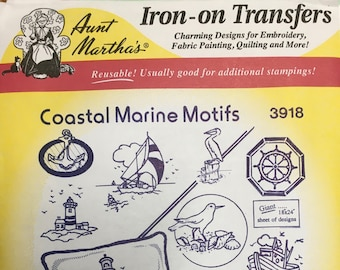 Coastal Marine Motifs Aunt Marthas Hot Iron Transfers for Embroidery Fabric Painting Quilting Needlepoint Crafts 3918