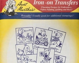 Personality Pigs - Aunt Marthas Hot Iron Transfers Embroidery Fabric Painting Quilting Needlepoint Crafts 3743 Made in the USA
