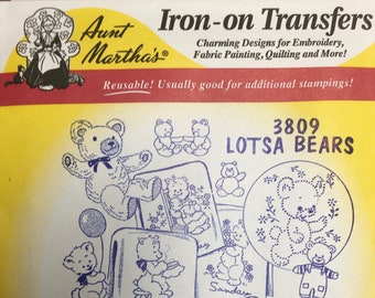 Lotsa Bears Days of the Week Aunt Marthas Hot Iron Transfers for Embroidery Fabric Painting Quilting Needlepoint Crafts 3809
