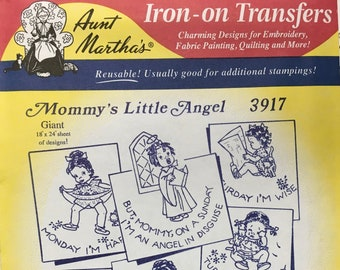 Mommys Little Angel Aunt Marthas Hot Iron Transfers Embroidery Fabric Painting Quilting Needlepoint Crafts 3917 Made in the USA