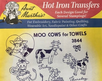 Moo Cows for Towels - Aunt Marthas Hot Iron Transfers Embroidery Fabric Painting Quilting Needlepoint Crafts 3844 Made in the USA