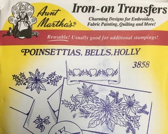 Poinsettias Bells Holly Aunt Marthas Hot Iron Transfers for Embroidery Fabric Painting Quilting Needlepoint Crafts 3858