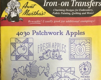 Patchwork Apples - Aunt Marthas Hot Iron Transfers for Embroidery Fabric Painting Quilting Needlepoint Crafts 4030