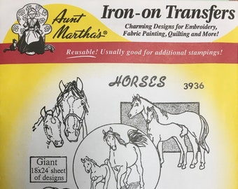 Horses Aunt Marthas Hot Iron Transfers for Embroidery Fabric Painting Quilting Needlepoint Crafts 3936