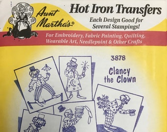Clancy the Clown Aunt Marthas Hot Iron Transfers for Embroidery Fabric Painting Quilting Needlepoint Crafts 3878