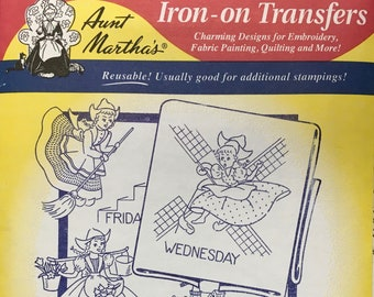 Dutch Girl Tea Towel - Aunt Marthas Hot Iron Transfers Embroidery Fabric Painting Quilting Needlepoint Crafts 3597 Made in the USA