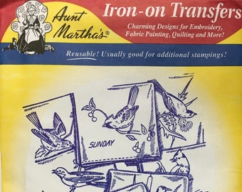 Birds for Many Uses - Aunt Marthas Hot Iron Transfers Embroidery Fabric Painting Quilting Needlepoint Crafts 9637 Made in the USA