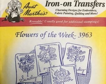 Flowers of the Week Aunt Marthas Hot Iron Transfers for Embroidery Fabric Painting Quilting Needlepoint Crafts 3963