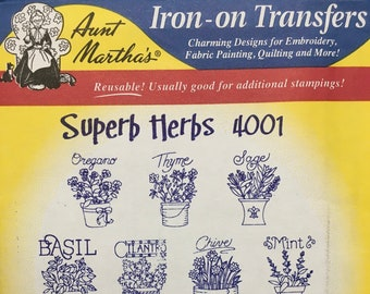 Superb Herbs - Aunt Marthas Hot Iron Transfers for Embroidery Fabric Painting Quilting Needlepoint Crafts Made in the USA #4001