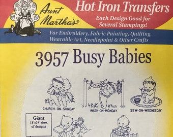 Busy Babies Aunt Marthas Hot Iron Transfers Embroidery Fabric Painting Quilting Needlepoint Crafts 3957 Made in the USA