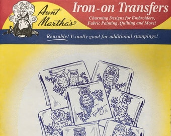 Hoot Owls - Aunt Marthas Hot Iron Transfers Embroidery Fabric Painting Quilting Needlepoint Crafts 3771 Made in the USA