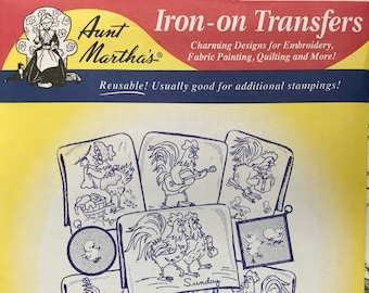 Barnyard Happenings - Aunt Marthas Hot Iron Transfers Embroidery Fabric Painting Quilting Needlepoint Crafts 3753 Made in the USA