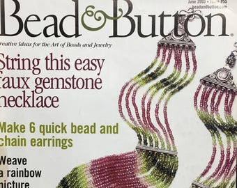 Bead and Button Magazine Seaside Charm Necklace Ukranian Netting Crochet Wire Beads Beaded Peyote Stitch Hat Crystal Band June 2003