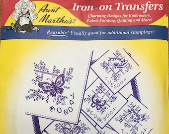 Butterflies for Linens - Aunt Marthas Hot Iron Transfers for Embroidery Fabric Painting Quilting Needlepoint Crafts 3437 Made in the USA