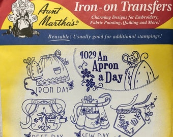 An Apron A Day - Aunt Marthas Hot Iron Transfers for Embroidery Fabric Painting Quilting Needlepoint Crafts 4029 Made in the USA
