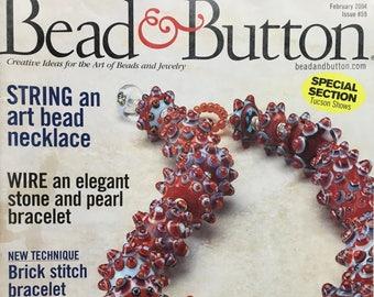 Bead and Button Magazine Art Bead Necklace Brick Stitch Bracelet Netted Pendant Beaded Beads Crystal Choker February 2004