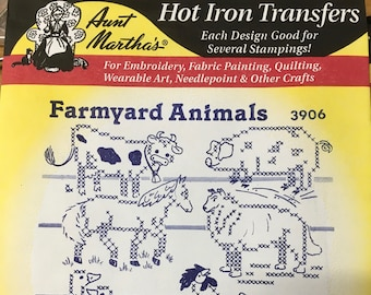 Farmyard Animals Aunt Marthas Hot Iron Transfers for Embroidery Fabric Painting Quilting Needlepoint Crafts 3906