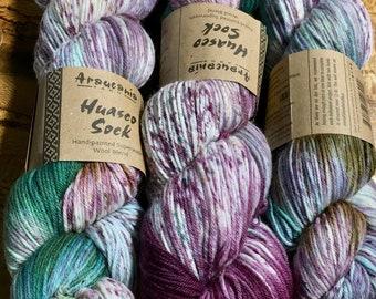 Araucania Huasco Sock Hand Painted Superwash Wool Polyamide Super Fine Fingering Weight Yarn Color 1007 Pavo Real