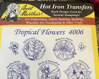 Tropical Flowers Aunt Marthas Hot Iron Transfers for Embroidery Fabric Painting Quilting Wearable Art Needlepoint Crafts 4006