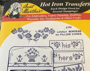 Lovely Borders for Pillowcases Aunt Marthas Hot Iron Transfers for Embroidery Fabric Painting Quilting Needlepoint Crafts 3791