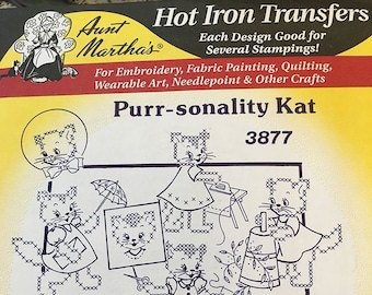 Purr-Sonality Kat Aunt Marthas Hot Iron Transfers for Embroidery Fabric Painting Quilting Needlepoint Crafts 3877