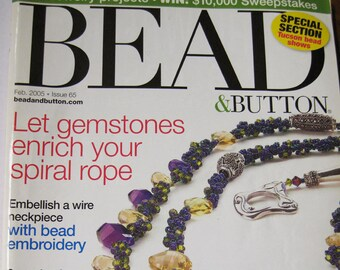 Bead and Button Magazine Gemstone Rope Bead Embroidery Loomwork Pearls February 2005 Issue