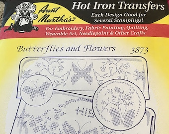 Butterflies and Flowers Aunt Marthas Hot Iron Transfers for Embroidery Fabric Painting Quilting Needlepoint Crafts 3873