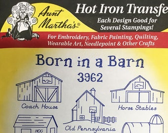 Born in A Barn Aunt Marthas Hot Iron Transfers for Embroidery Fabric Painting Quilting Wearable Art Needlepoint Crafts 3962