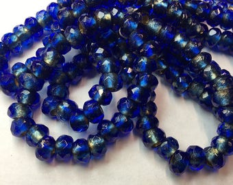 Sapphire Blue Metallic Gold Lined Czech Pressed Glass Large Hole Faceted Roller Beads 6mm x 9mm 25 beads