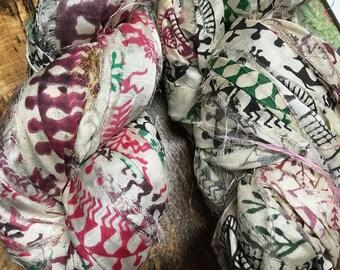 Festival Block Printed Sari Silk Ribbon 50 yards 100 grams for Macrame Wrapping Knitting Kumihimo Knotting
