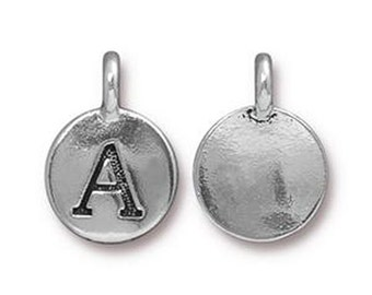 "Letter ""A"" Initial Pendant Tiny Silver Charm TierraCast Antique Silver Alphabet Charms Lead Free Pewter 16.5x11.5mm One Charm F293"