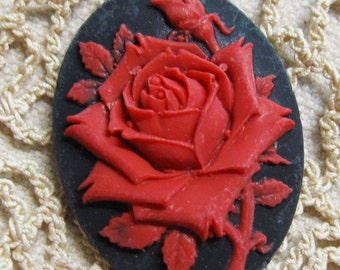 Gorgeous Red Rose Acrylic Black Cameo Jewelry Cabochon Pendant 40mm x 30mm