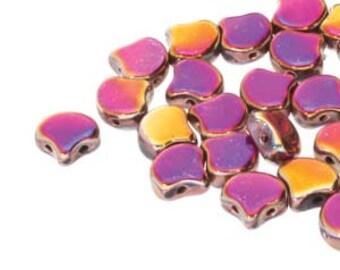 Ginko Full Sliperit Czech Pressed Glass Two Hole Gingko Leaf Beads 7.5mm 22 grams