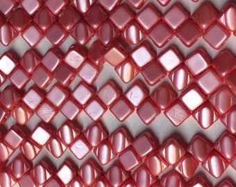 Pastel Light Coral Two Hole Silky Czech Pressed Glass 6mm Two Hole Angled Square Beads