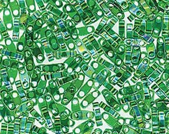 Clearance Green Luster Transparent Miyuki Quarter Tila 1.2mm x 5mm x 1.9mm Glass Beads 1/4 Cut 6 grams