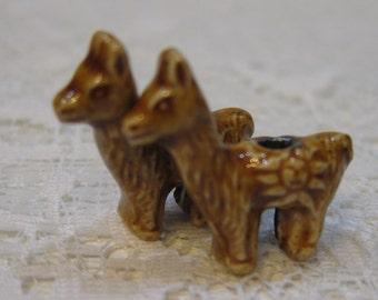Llama Beads Brown Peruvian Ceramic Large Hole Llama Beads Alpaca 22x20x10mm 4 beads