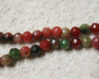 Clearance White Jade Dyed Ruby Zoisite Red and Green Faceted Rounds 4mm Approx 45 beads