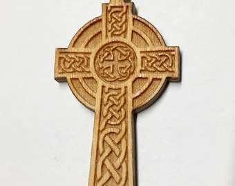 Baltic Birch Wood Pendant Charm, Celtic Cross, 41x24mm One Pendant