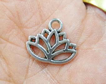 Lotus Flower Charm Antique Silver Tone Single Sided Yoga Meditation Floral Charms 17mm x 14mm 10 Charms C167
