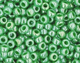 11/0 Opaque Lustered Mint Green Toho Glass Seed Beads 2.5 inch tube 8 grams TR-11-130