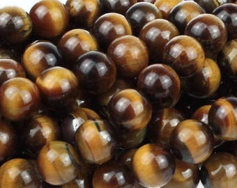 Tiger Eye 8mm Gemstone Rounds Approx 24 beads 8 Inch strand