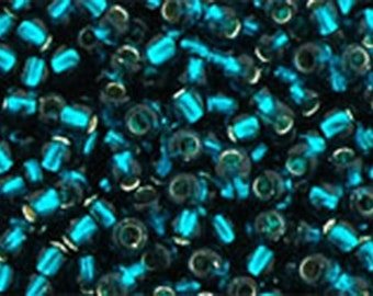 11/0 Silver Lined Teal Toho Glass Seed Beads 2.5 inch tube 8 grams TR-11-27BD