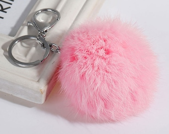 Pink Angora Fur Pom Pom Ball with Key Ring and Lobster Clasp for Craft Projects Hat Decoration Knitting Crochet 78mm