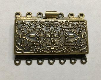 Antique Brass 7 Strand Vintage Style Box Clasp 23x21mm 1 pc F548B