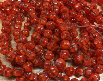 6mm Melon Beads Red Orange with Brown Wash Czech Pressed Glass Round Druk Beads 6mm 25 beads